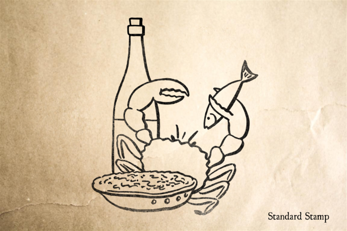Seafood Dinner Rubber Stamp