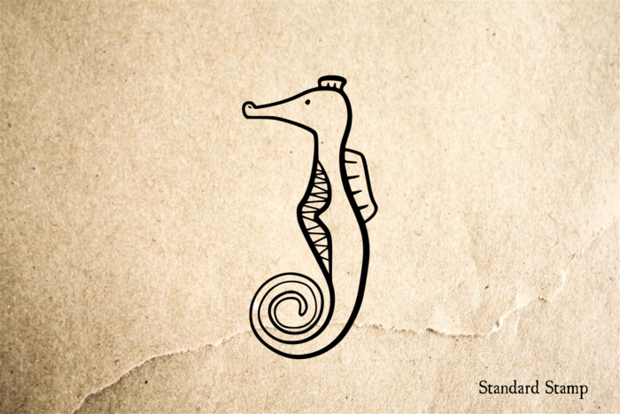 Seahorse Cartoon Rubber Stamp