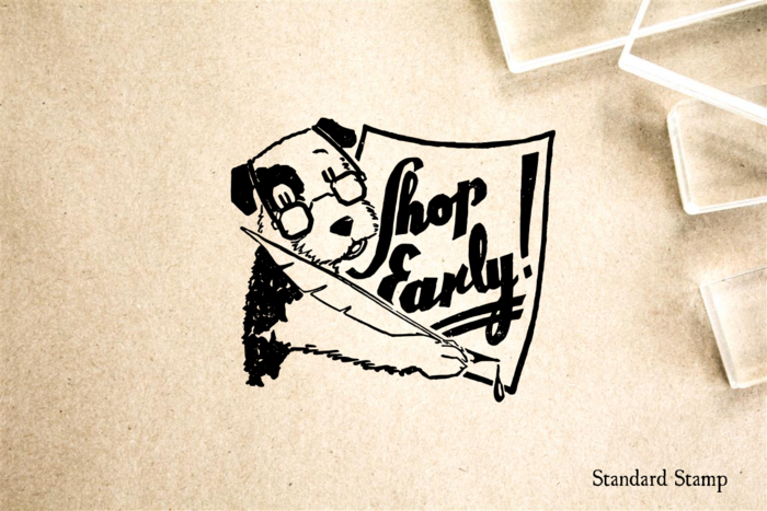 Shop Early Sign Rubber Stamp