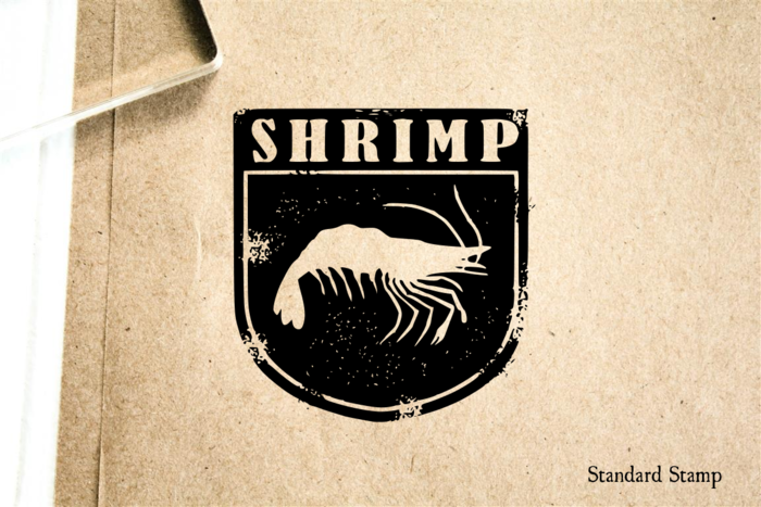 Shrimp Badge Rubber Stamp