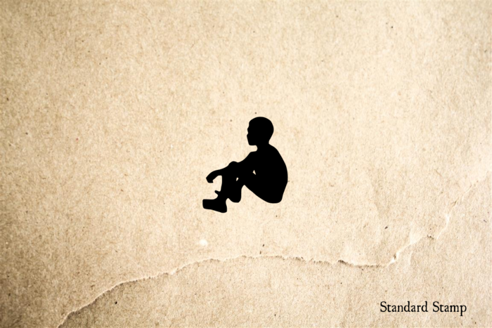 Sitting Boy Rubber Stamp