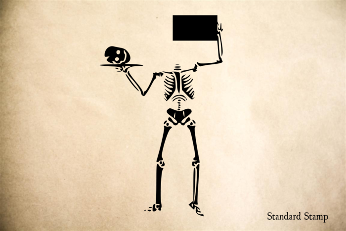 Skeleton with Platter Rubber Stamp