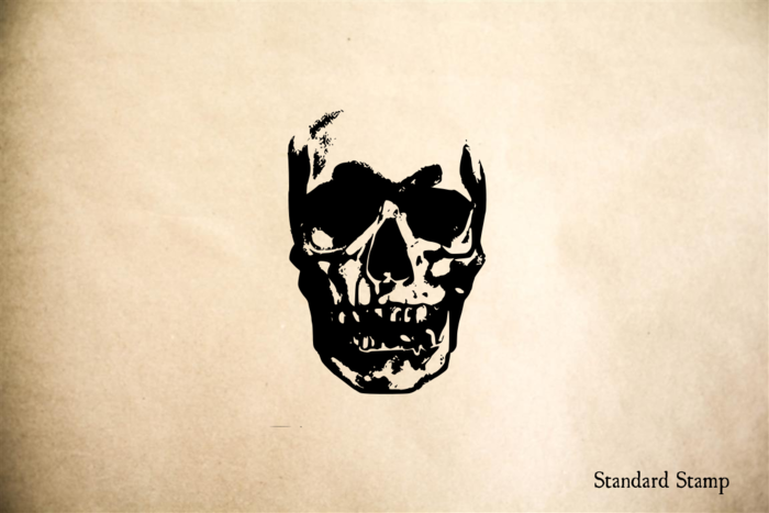 Skull Grungy Human Rubber Stamp
