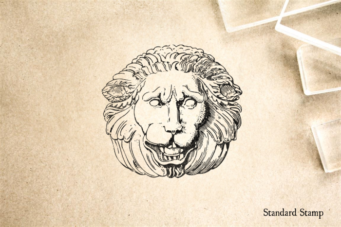 Sorrowful Stone Lion Head Rubber Stamp