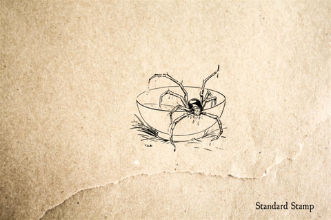 Spider in Soup Rubber Stamp