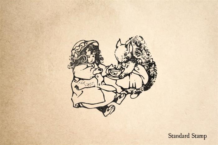 Squirrel and Doll Have Tea Rubber Stamp