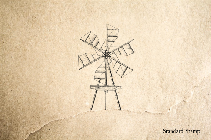 Standing Windmill Rubber Stamp