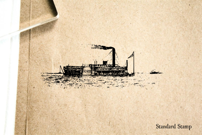 Steamboat River Boat Rubber Stamp