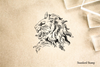 Stone Lion Profile Rubber Stamp