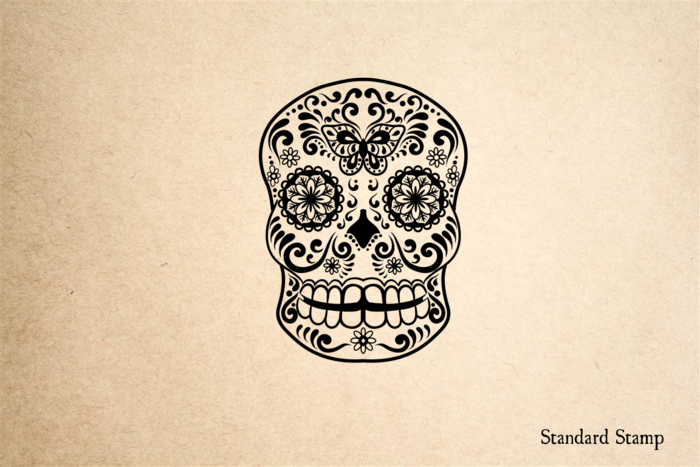 Sugar Skull Butterfly Rubber Stamp