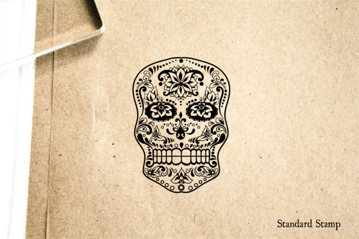 Sugar Skull Flower Rubber Stamp