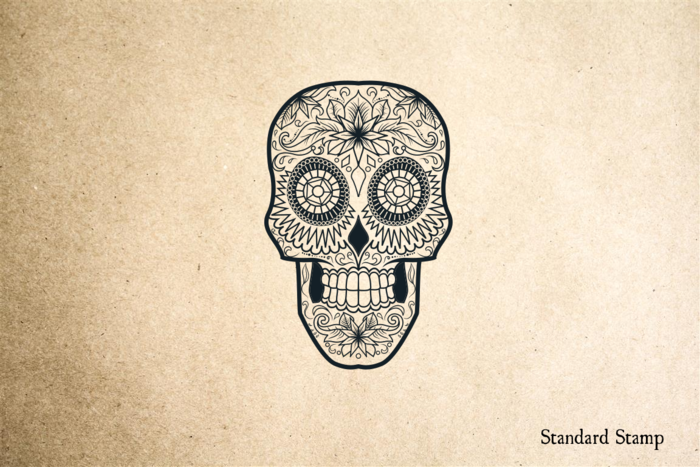 Sugar Skull Narrow Rubber Stamp