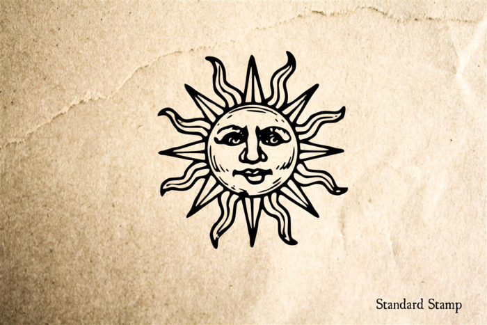 Sun Face Rubber Stamp