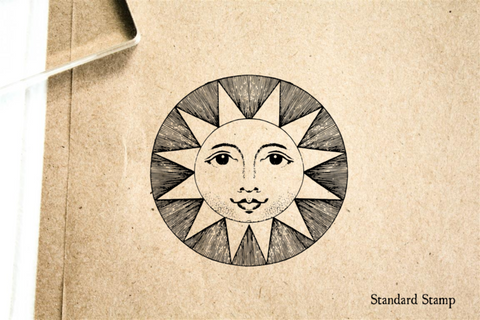 Happy Sun Face Rubber Stamp