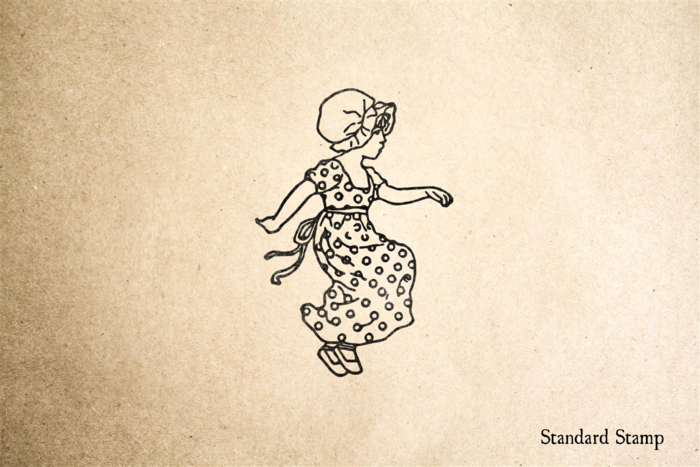 Sweet Skipping Girl Rubber Stamp