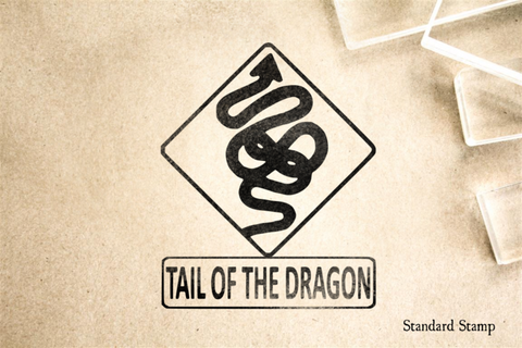 Tail of the Dragon Curve Sign Rubber Stamp