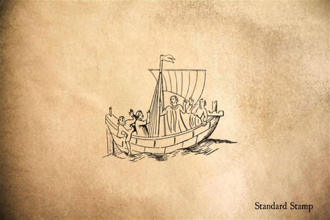 The White Ship Pilgrims Boat Rubber Stamp