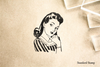 Thoughtful Retro Woman Rubber Stamp