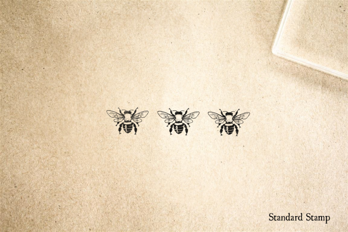 Triple Honeybee Rubber Stamp