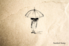 Umbrella Man Rubber Stamp