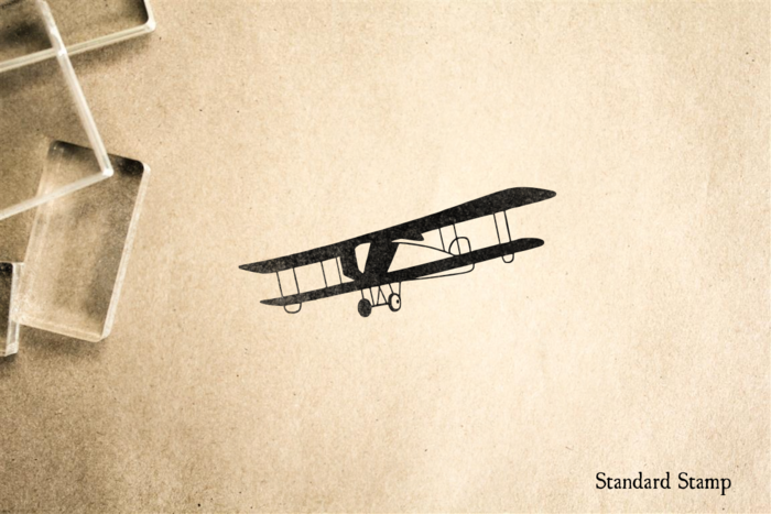 Vintage Biplane Silhouette Rubber Stamp