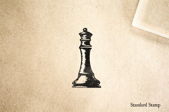 Vintage Chess Queen Rubber Stamp