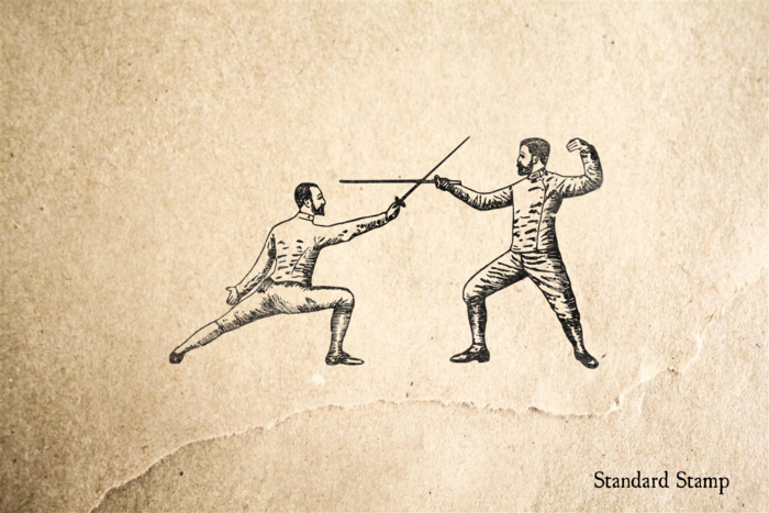 Vintage Fencing Rubber Stamp