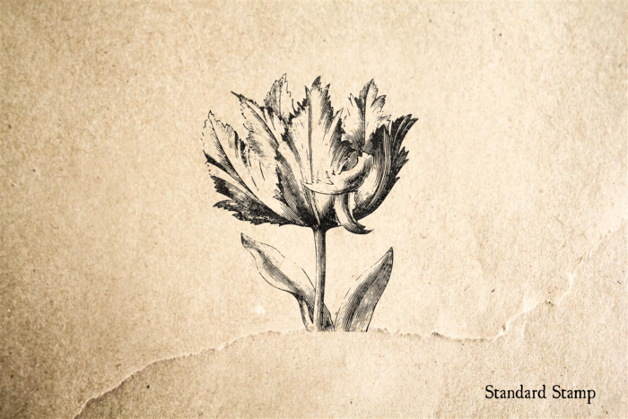 Vintage Flower with Leaves Rubber Stamp