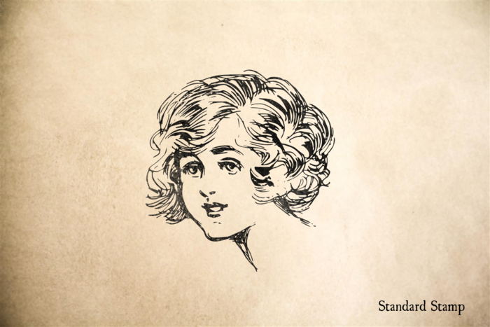 Vintage Girl Face Rubber Stamp