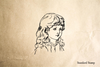 Vintage Girl Face 3 Rubber Stamp