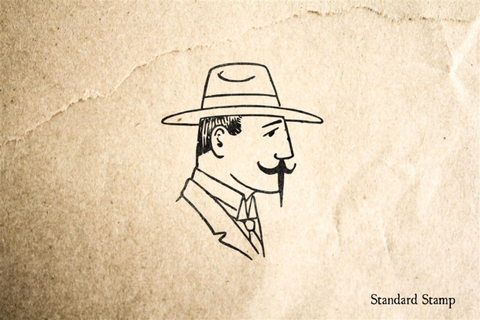 Vintage Man with Mustache Rubber Stamp