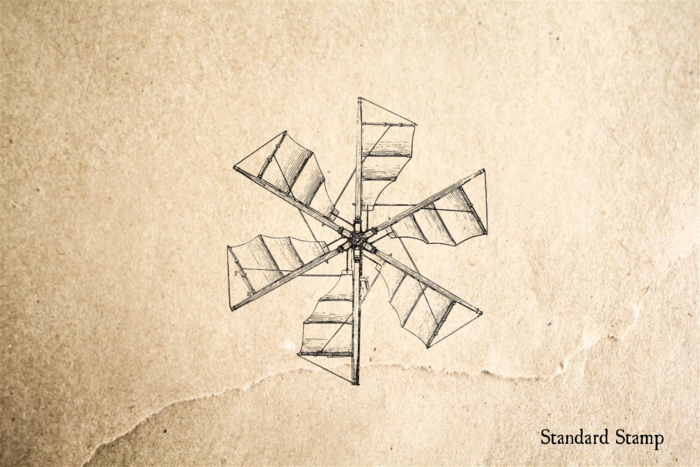 Windmill Blades Rubber Stamp