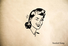 Winking Woman Rubber Stamp