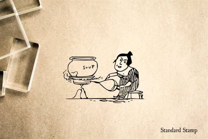 Woman Cooking Soup Cartoon Rubber Stamp