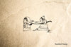Woman Putting Baby in Oven Cartoon Rubber Stamp