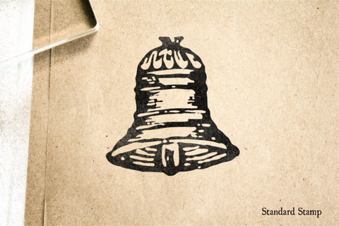 Woodcut Antique Bell Rubber Stamp