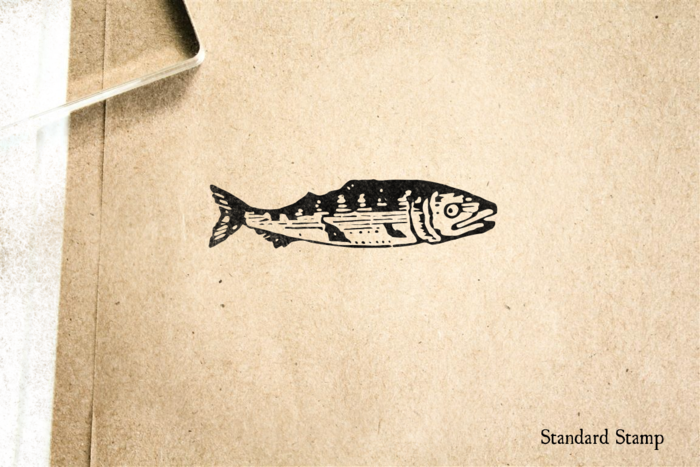 Woodcut Antique Fish Rubber Stamp