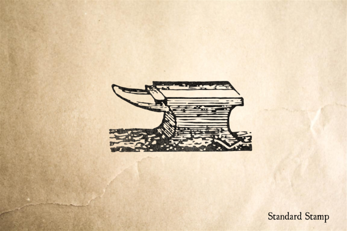 Woodcut Block Anvil Rubber Stamp