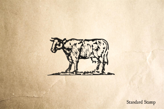 Woodcut Classic Cow Rubber Stamp