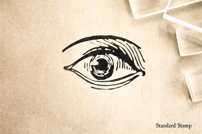 Woodcut Eye Rubber Stamp