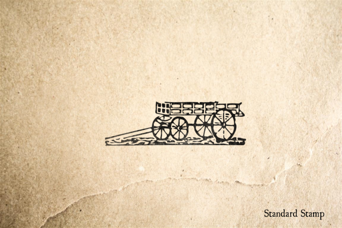 Woodcut Farm Wagon Rubber Stamp