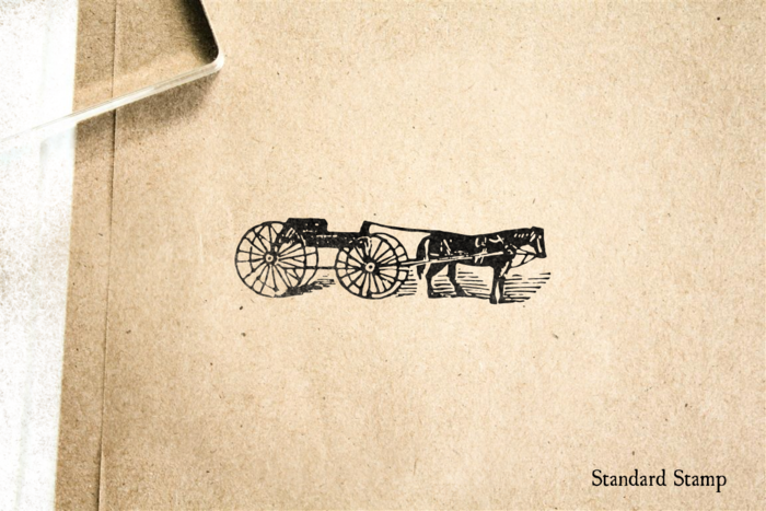 Woodcut Horse and Buggy Rubber Stamp