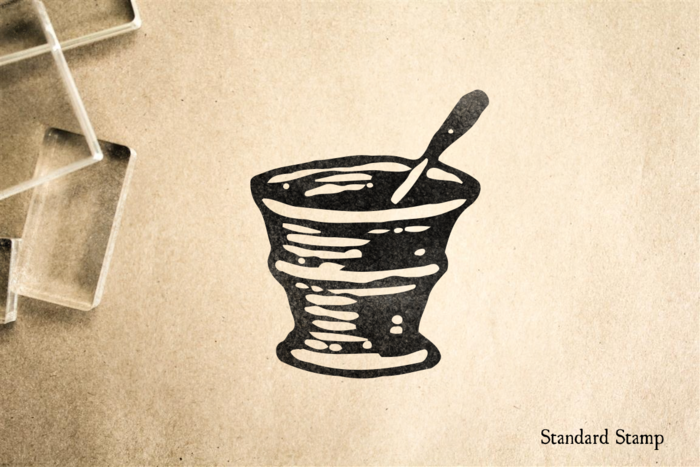 Woodcut Mortar and Pestle Rubber Stamp