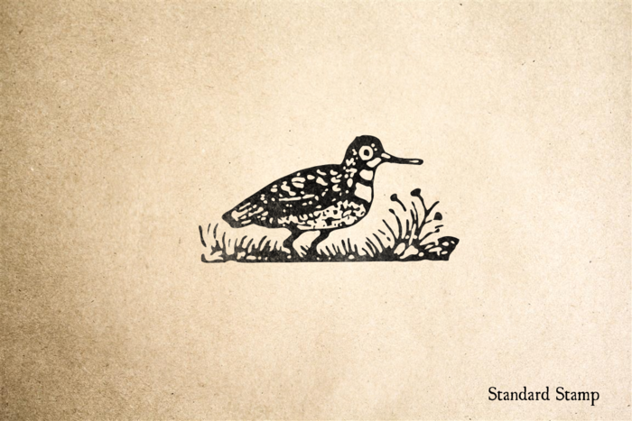 Woodcut Plover Rubber Stamp