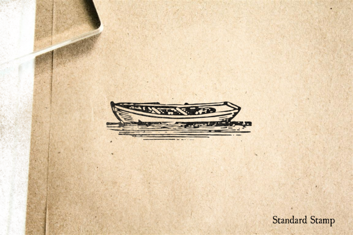 Woodcut Rowboat Rubber Stamp