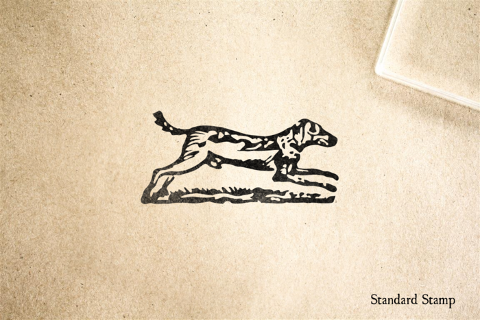Woodcut Running Dog Rubber Stamp