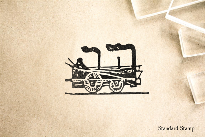 Woodcut Steam Locomotive Rubber Stamp