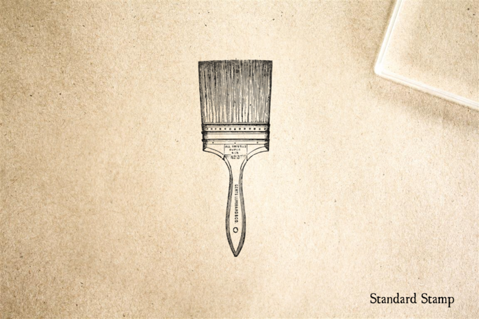 Wooden Handled Paintbrush Rubber Stamp
