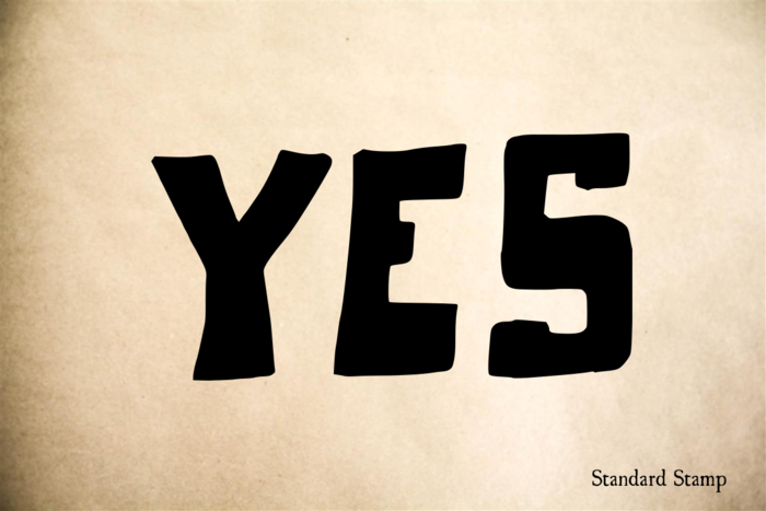 Yes Hand Drawn Text Rubber Stamp