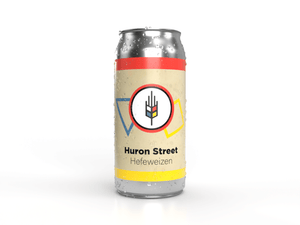 Tall can of Huron Street Hefeweizen a german style wheat beer made by craft brewery bitte schon brauhaus in new hamburg ontario